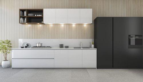 Køkken med cement gulv.