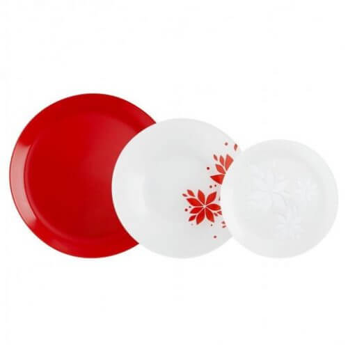 Luminarc stel med rødt tema.