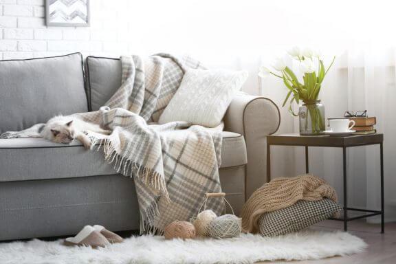 Rodet sofa med tæppe og puder.