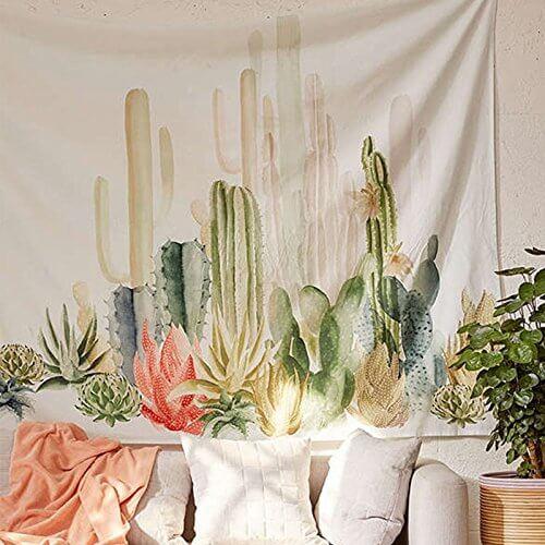 Polyester gobelin med kaktusser.