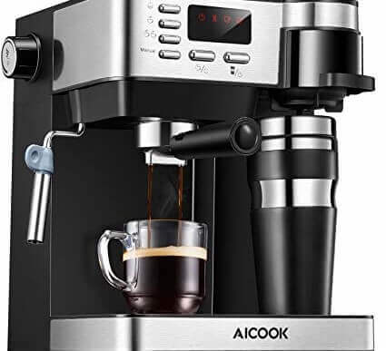 Kaffemaskine med samtlige funktioner.