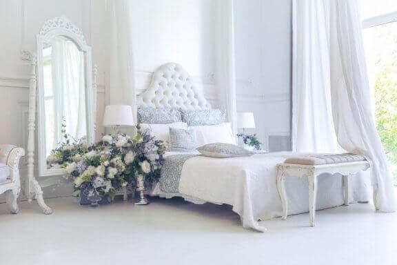 Shabby-chic indrettet soveværelse.