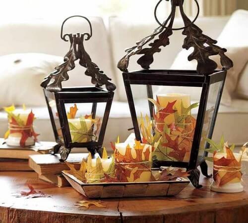 Lanterner med tørrede blade