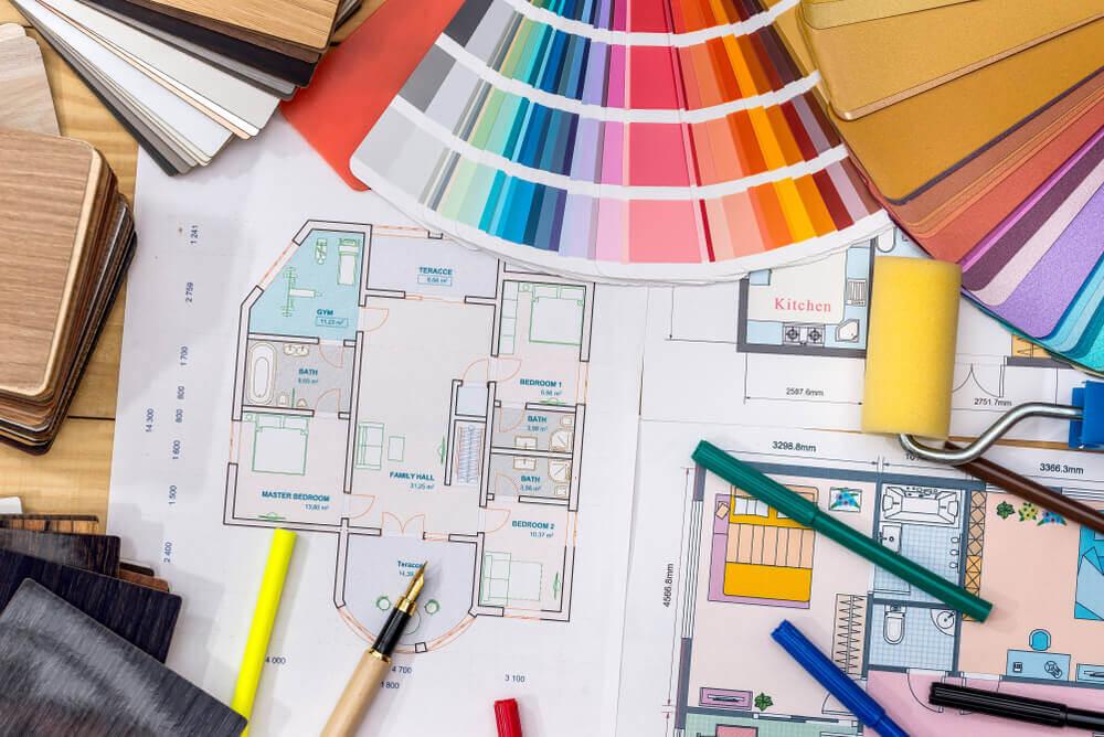 Indretning som en kunstform illustreres med plantegning og farver