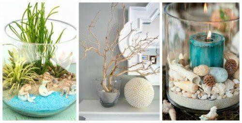 Lav dekorationer med glas med sand