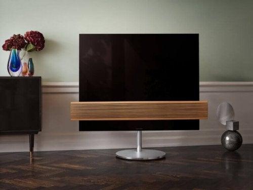plasma-tv på trægulv