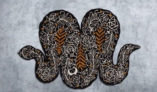 tæppe formet som slange til IKEA kunstevent