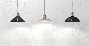 Tre hængende lamper til belysning med lavt lys