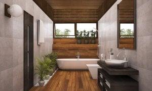 smukke linjer med træ i badeværelset