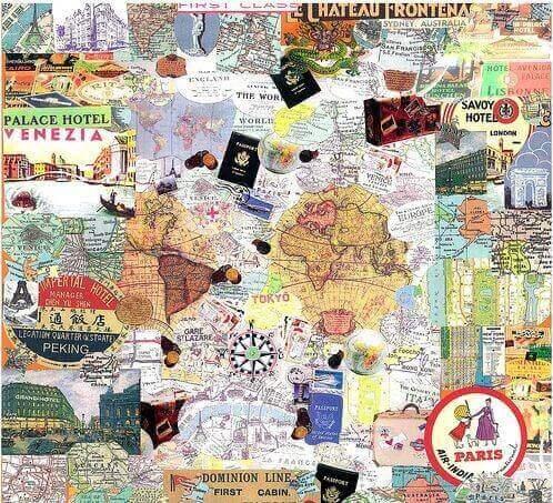 collage med verdenskort til folk der elsker at rejse