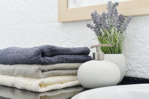 Håndklæder og sæbebeholder fra dollar butik
