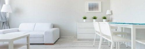 minimalistisk indretning af hvid stue