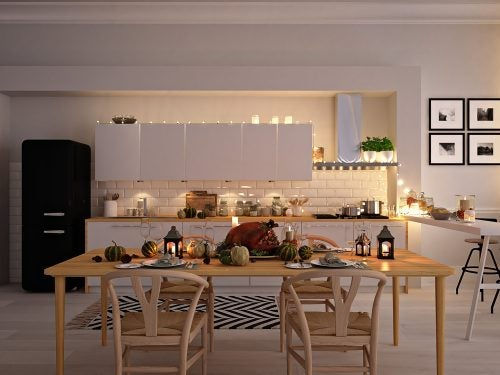 Stue og køkken i samme værelse