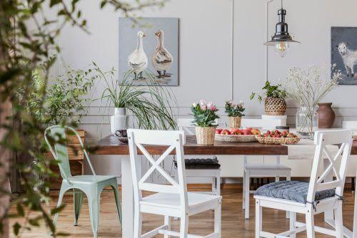 Spisebord med planter og blomster