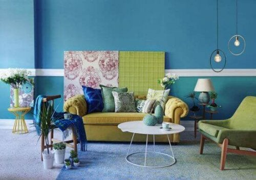 stue i gul og tyrkis