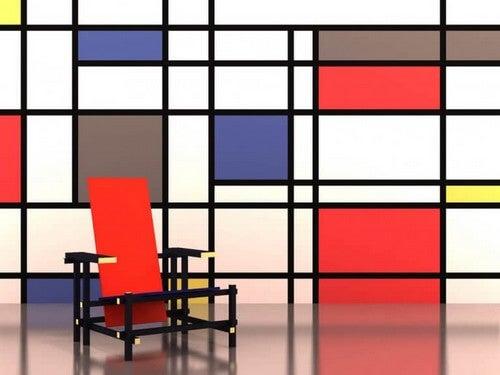 Geometrisk indretning med geometrisk stol
