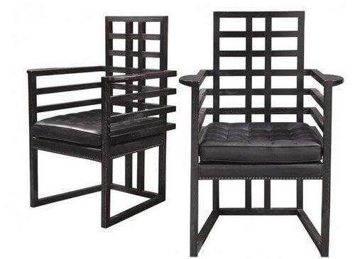 Hoffmann designede også stole med lige linjer