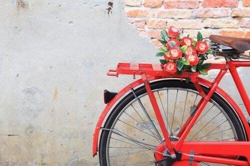 En gammel cykel lavet om til plantekasse