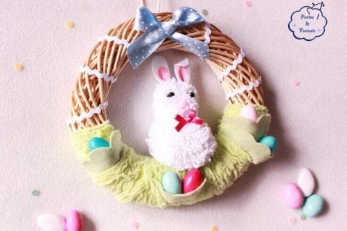 sød krans med en kanin