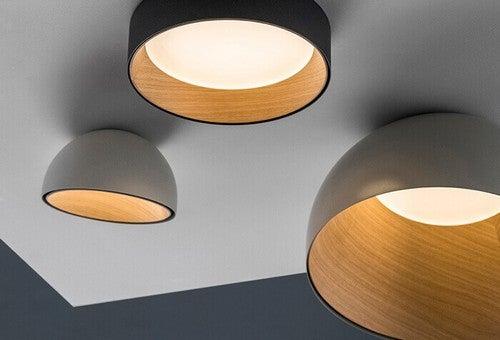 Hjemmelavede lamper af træskåle