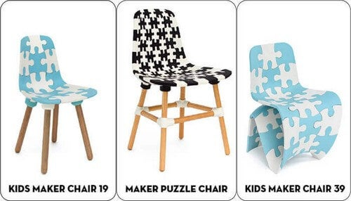 3D-printede stole med puslespilsdesign