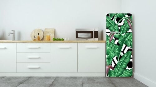 Køleskab med vinylklistermærker i form af planter