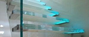 trappe med glaslys