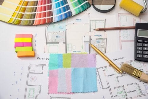 indretning og farveprøver