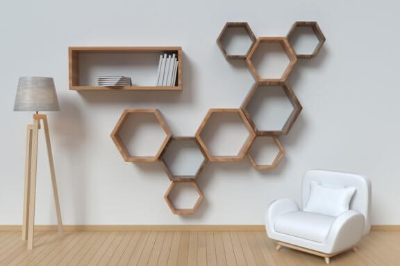 originale hylder med geometrisk mønster