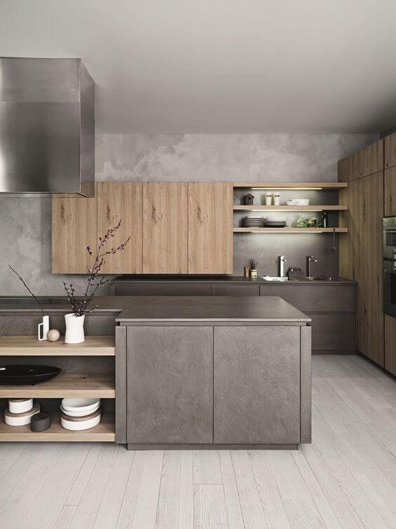 køkken med naturlige materialer