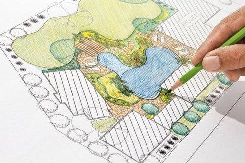 Tegning over haveplan