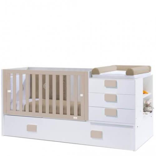 kombineret skiftebord og seng