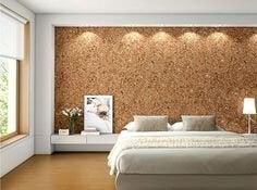 væg i soveværelse af kork