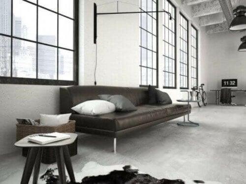 en flot stue designet med en avantgarde indretning