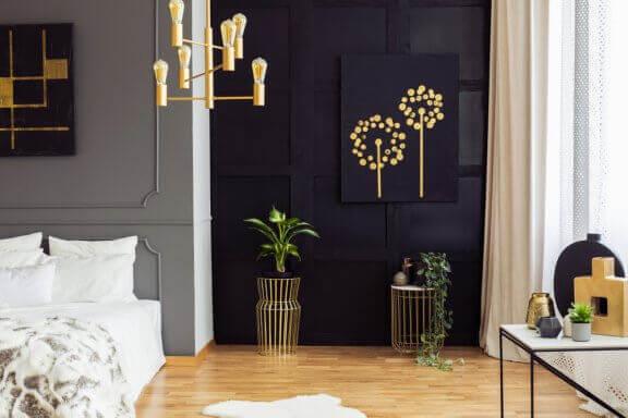 accessories i guld til soveværelse