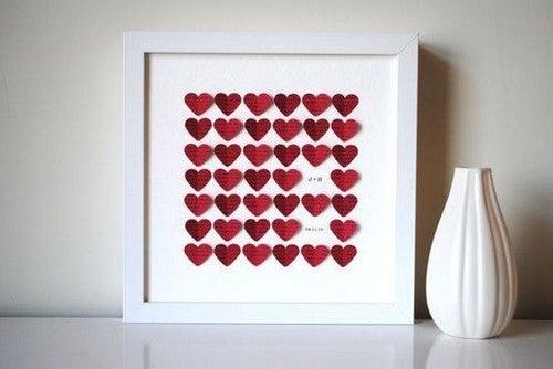 Romantisk billedramme med hjerter