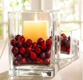 stearinlysholdere med frugt