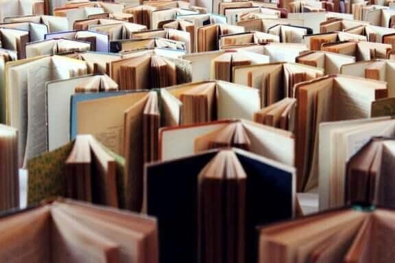 samling af stående, åbne bøger