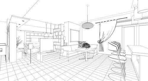 Skitse over køkken og stue