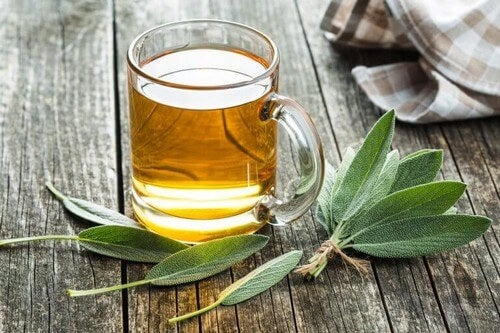 En kop te med salvie omkring