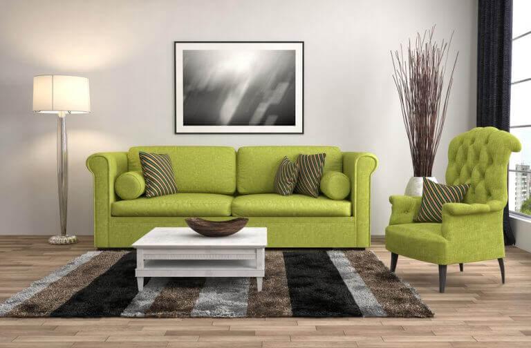 Dekorer din stue med en grøn sofa