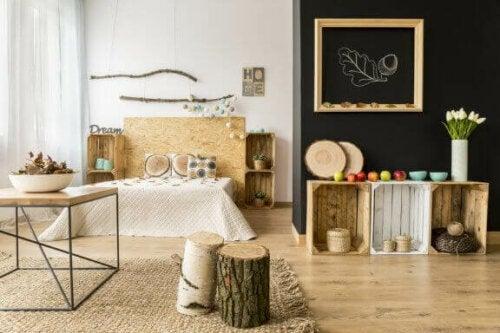 naturlig indretning i soveværelse