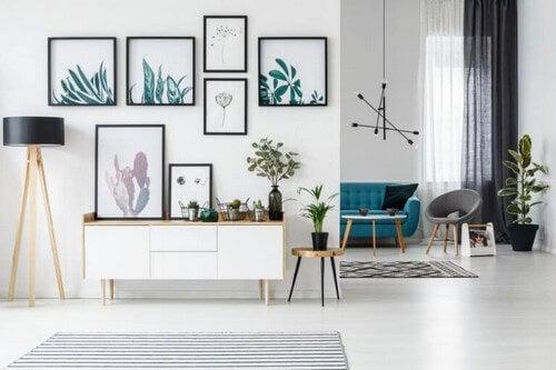Geometriske former i stuen