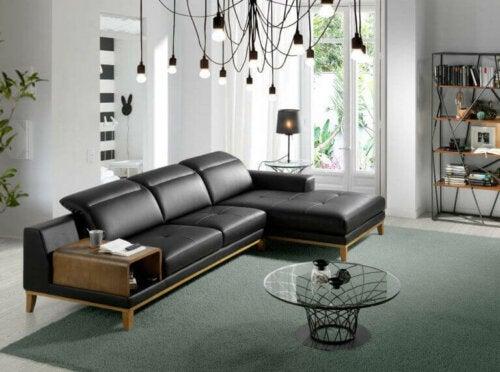 lædersofa i stue
