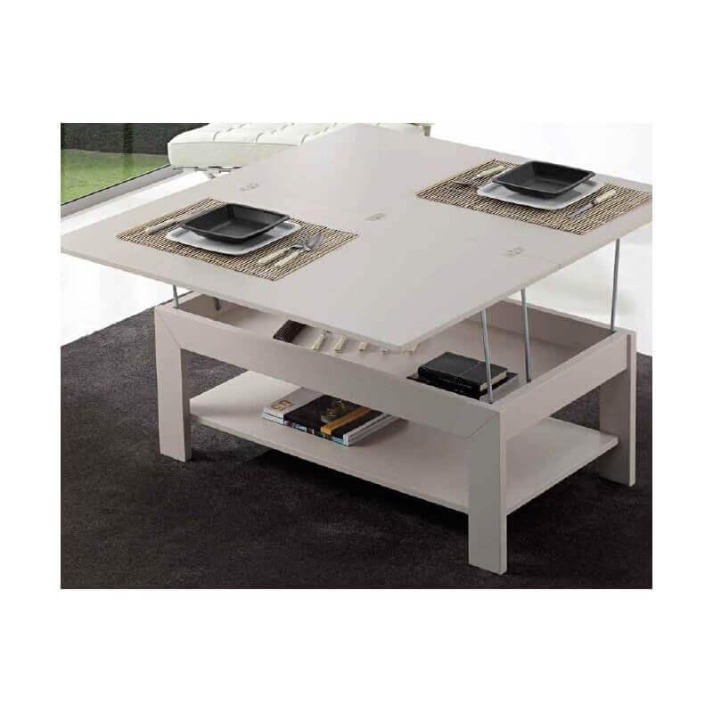 Multifunktionelt sofabord hævet til spiseplads.