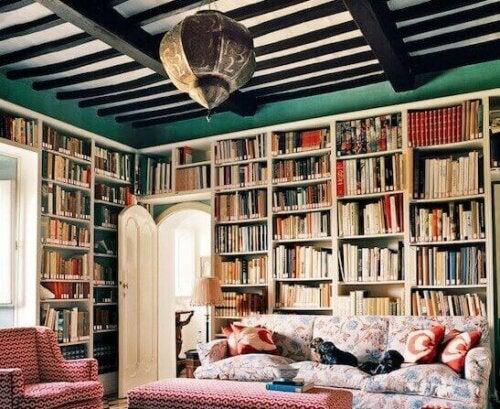 stort bibliotek i et hjem