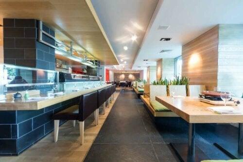 indretning af moderne restaurant