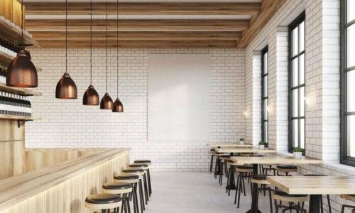 indretning af restaurant med barstole