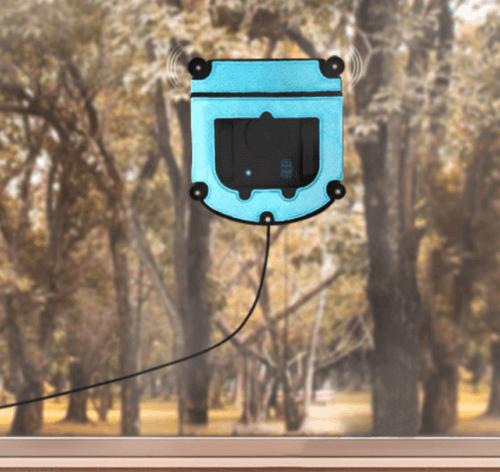 Blå vinduespudserrobot på ruden