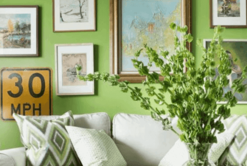 æblegrøn væg med billeder